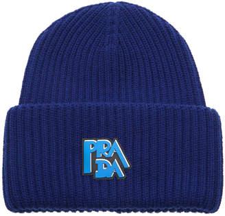 Prada Logo-Printed Rib-Knit Beanie