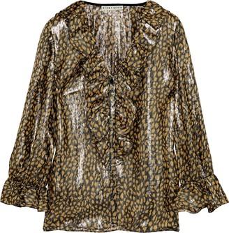 Alice + Olivia Elliot Ruffle-trimmed Leopard-print Silk-blend Lame Blouse