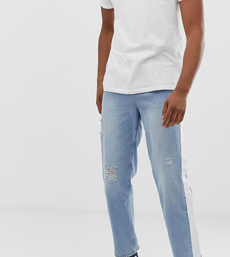 Asos Design ASOS TALL Skater Jeans In Light Wash With Abrasions And Side Stripe