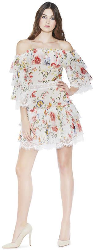 Alice + Olivia Santos Cold Shoulder Tier Dress