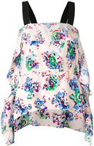 MSGM floral waterfall hem top - women - Silk - 40