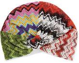 Missoni Metallic Crochet-knit Turban - Red