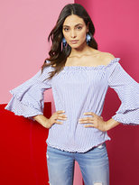 New York & Co. Off-The-Shoulder Poplin Shirt - Stripe