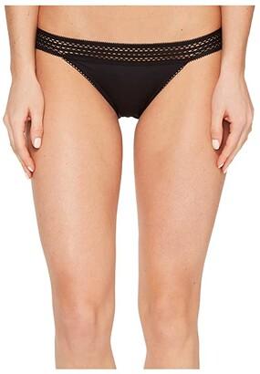 DKNY Intimates Classic Cotton Bikini Lace Trim (Black) Women's Underwear