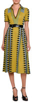 Bottega Veneta Knit Intarsia Polo Dress, Chartreuse