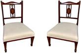 One Kings Lane Vintage Inlaid Mahogany Children's Chairs,Pair - Von Meyer Ltd. - brown/white