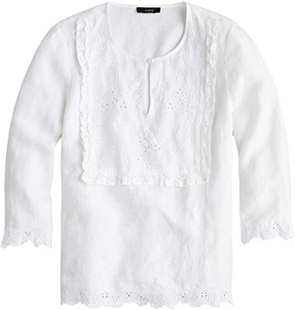 J.Crew Jumento Embellished Bib Blouse in Linen (White) Women's Clothing