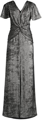 Aidan Mattox Flutter-Sleeve Burn Velvet A-Line Gown