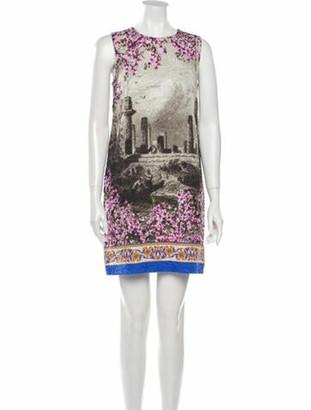 Dolce & Gabbana Printed Mini Dress Grey