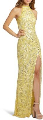 Mac Duggal Embellished Halter Column Gown