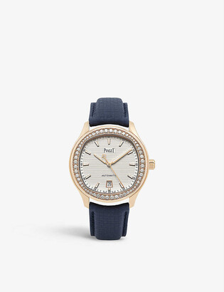 Piaget G0A44010 Polo 18ct rose-gold, 1.53ct diamonds and leather automatic watch