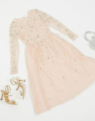 Frock and Frill embellished long sleeve midi dress in blush