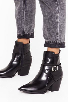 Nasty Gal Womens Don't Buckle Under Pressure Faux Leather Boots - Black - 5, Black