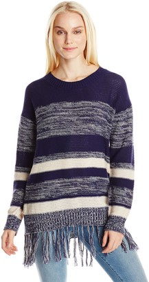 Blu Pepper Women's Fringe Stripe Sweater