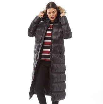 Brave Soul Womens Hopshine Max Padded Coat With Faux Fur Trim Hood Black/Natural