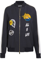 Stella McCartney Embroidered Faille Bomber Jacket - Navy