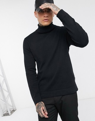 ONLY & SONS roll neck knitted jumper in black