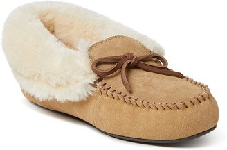 Dearfoams Women's Genuine Suede Fold-Over Moccasin with Tie