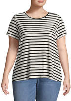 Boutique + + Short Sleeve Round Neck Stripe T-Shirt-Womens Plus