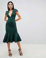Asos Design DESIGN plunge seam detail pephem bodycon midi dress