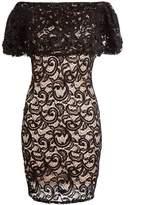 Quiz Black And Stone Lace Bardot Dress