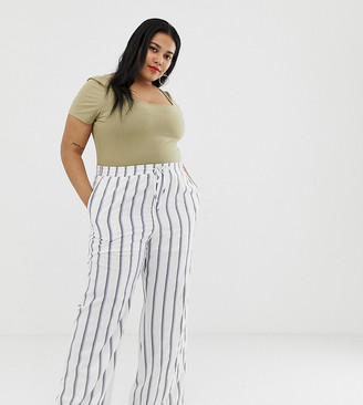 Glamorous Curve curve relaxed pants in painted stripe-White