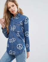Glamorous Peace Print Denim Shirt