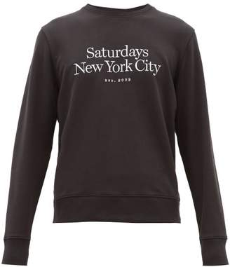 Saturdays NYC Bowery Logo Embroidered Cotton Sweatshirt - Mens - Black