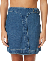 MinkPink Buckle Up Womens Denim Wrap Skirt Blue