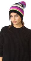 White + Warren Cashmere Multicolor Stripe Beanie with Pom Pom
