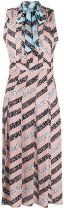 Olivia Palermo Chevron Striped Long-Line Dress