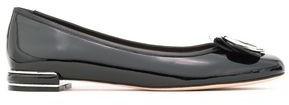 Stuart Weitzman Buckle-detailed Patent-leather Ballet Flats