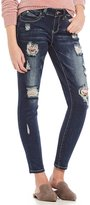 YMI Jeanswear WannaBettaButt Destructed Embroidered Skinny Jeans