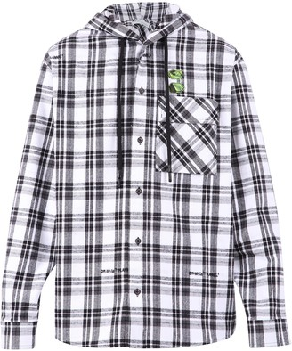 Off-White Checked Hooded Shirt
