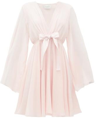 Giambattista Valli Plunge-neckline Tie-waist Silk-crepe Dress - Light Pink