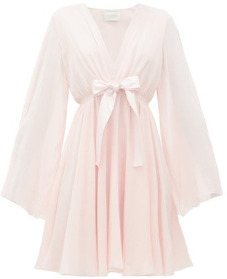 Giambattista Valli Plunge-neckline Tie-waist Silk-crepe Dress - Womens - Light Pink