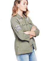 Mother Top Brass Fray Jacket With Floral Patches
