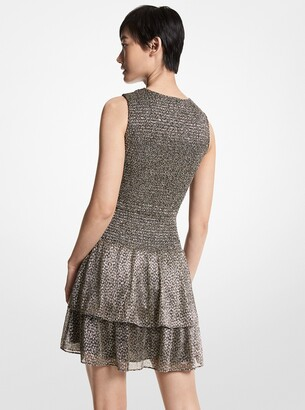 MICHAEL Michael Kors Metallic Jacquard Smocked Dress