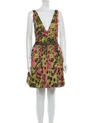 Marchesa Notte Animal Print Mini Dress w/ Tags Green