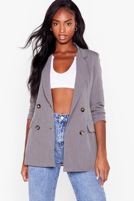 Nasty Gal Womens Pinstripe Down to Business Tailored Blazer - Grey