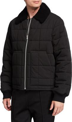 Helmut Lang Men's Quilted Nylon Bomber Jacket w/ Fur Collar