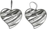 Swarovski Lavish By Tjm Lavish by TJM Sterling Silver Crystal Openwork Heart Drop Earrings - Made with Marcasite