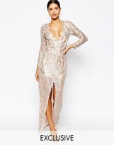 Club L Sequin Maxi Dress with Plunge Back and Long sleeves