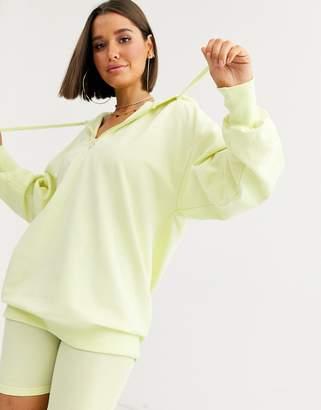 Asos Design DESIGN lounge travel neon hoodie-Green