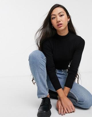 Monki Ingrid long sleeved turtleneck top in black