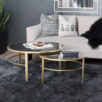 Studio Designs HOME Corbel Round Nesting 2 Piece Coffee Table Set Studio Designs HOME Table Top Color: Antiqued Mirror
