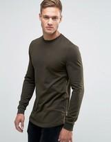 Asos Longline Muscle Fit Sweatshirt With Side Zip in Khaki