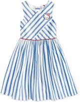 Hello Kitty Glitter Patch Striped Cotton Dress, Toddler and Little Girls (2T-6X)
