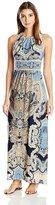 London Times T2772M Halter Keyhole Print Dress