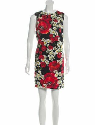 Dolce & Gabbana Sleeveless Printed Mini Dress Black